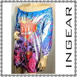 {INGEAR} bedazzled off-the-shoulder tunic/dress, M